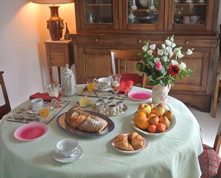 le petit déjeuner de la chambre d'hôtes à fouesnant