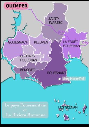 carte du pays fouesnantais et de sa côte la Riviera bretonne